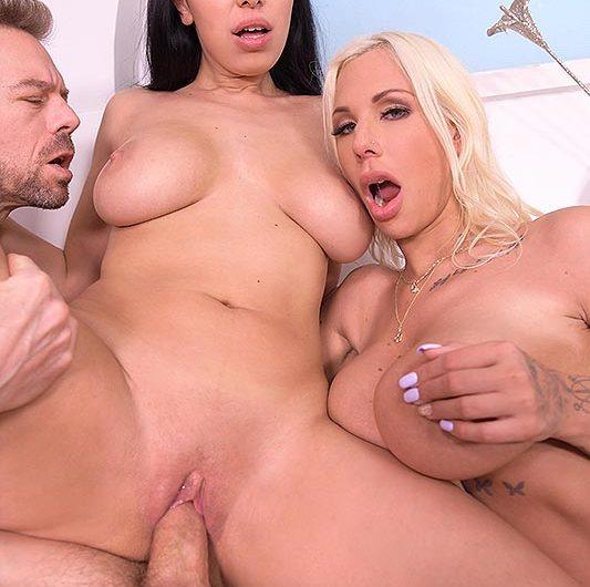 Kira Queen and Kyra Hot Share a Cock